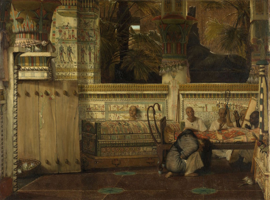 An Egyptian palace with brick walls, a person dead in a mummy case and a woman kneeling in front, weeping