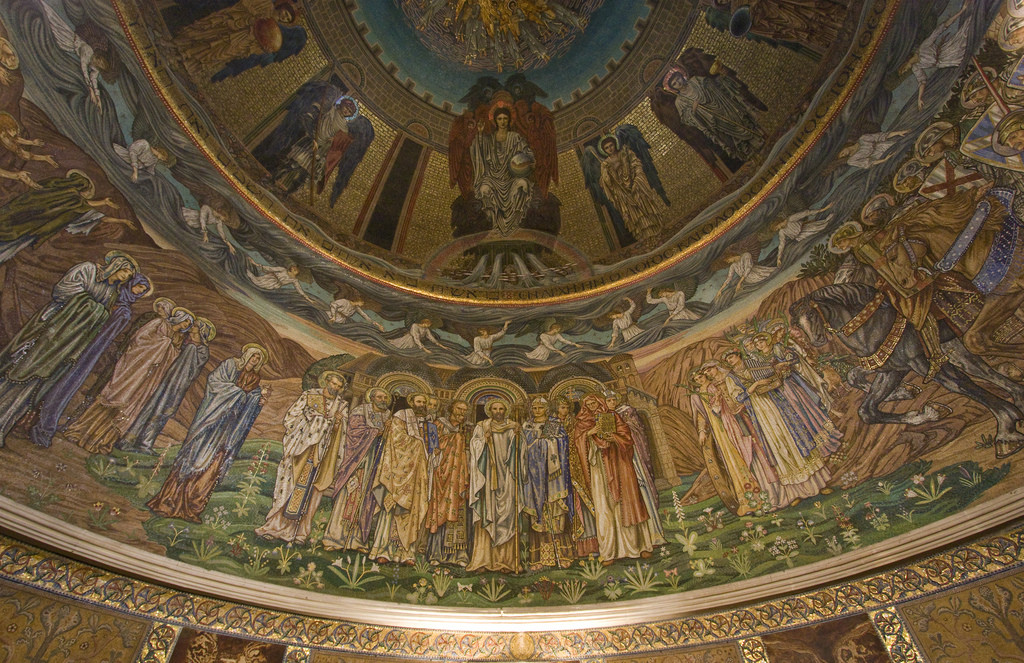 various saints standing next to one another in a ceiling fresco