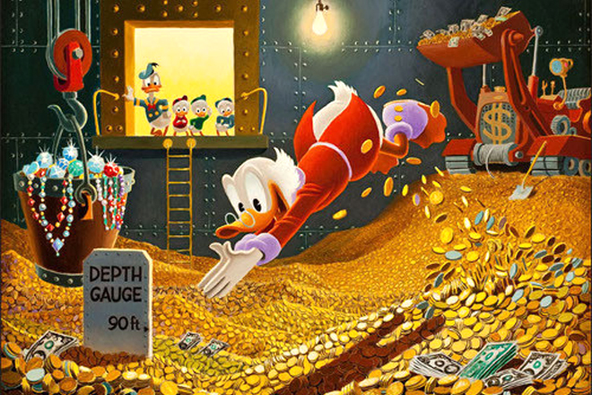 scrooge mcduck diving into his piles of money as Donald, Huey, Dewey, and Louie look on.