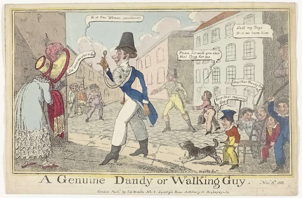 "a man with white pants and a blue coat in caricature walking about a town with the caption ""A Genuine Dandy or walking guy"""