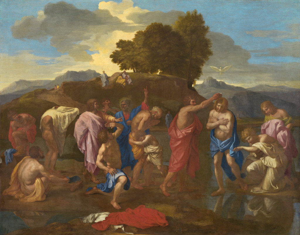 A number of half-clothed men, one in red pouring water on the head of one in blue.