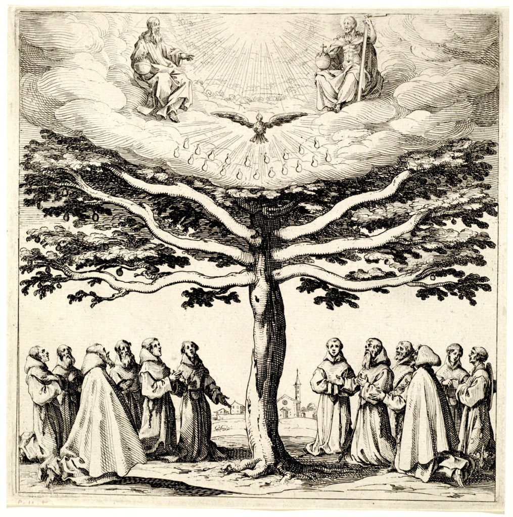 a tree with monks beneath it, and human men representing Jesus and God the Parent with the dove of the holy spirit in the middle