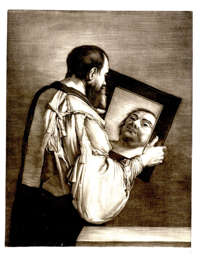 Man with beard holding a mirror and seeing a man without a beard