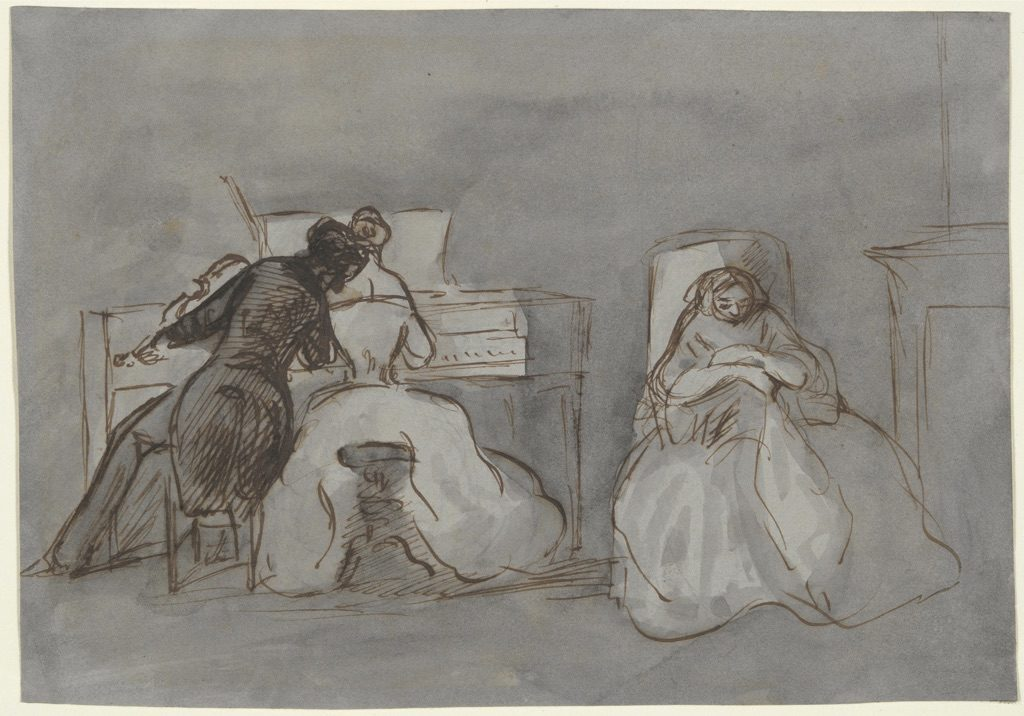 Man in black leaning over woman in white seated at a piano bench while another woman in white sits in a chair