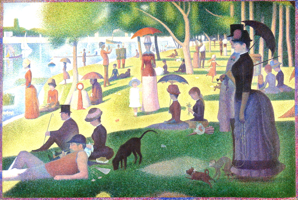 "The Pointilist masterpiece by Georges Seurat ""A Sunday on La Grande Jatte"" with people sitting on green grass along the banks of a river."
